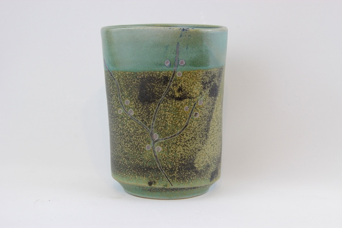 Blossom series - vessel speckled and green (13) 10 x 8.5 x 13.5 - Deanna Roberts