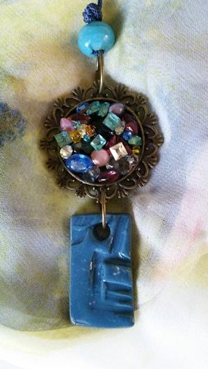 Blue Porcelain and Gems Pendant