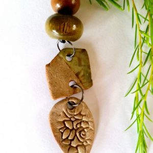 Green and brown leaf and square pendant