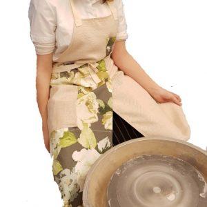 Pottery split-leg apron - Green Blossom
