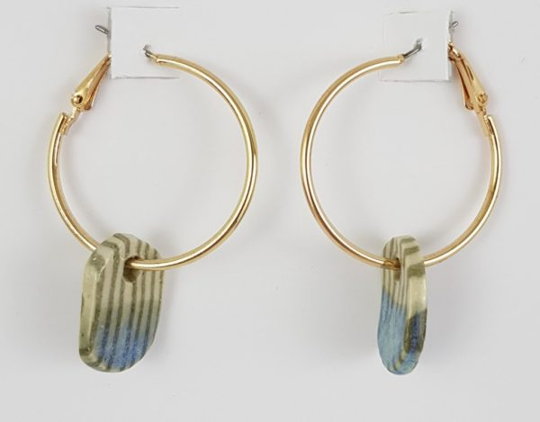 Hyacinth Blue and Striped Earrings - Deanna Roberts Studio (1)