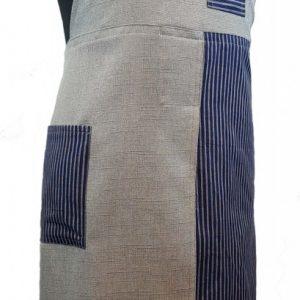 Pottery split-leg apron - Blue and grey stripes (3)