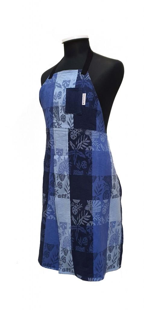 Blue Picnic split-leg pottery apron
