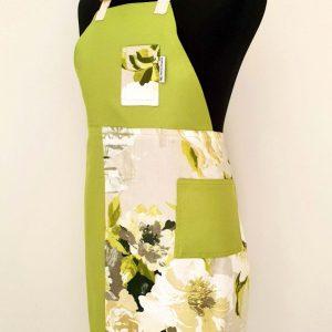 Pottery split-leg apron - Lime Floral