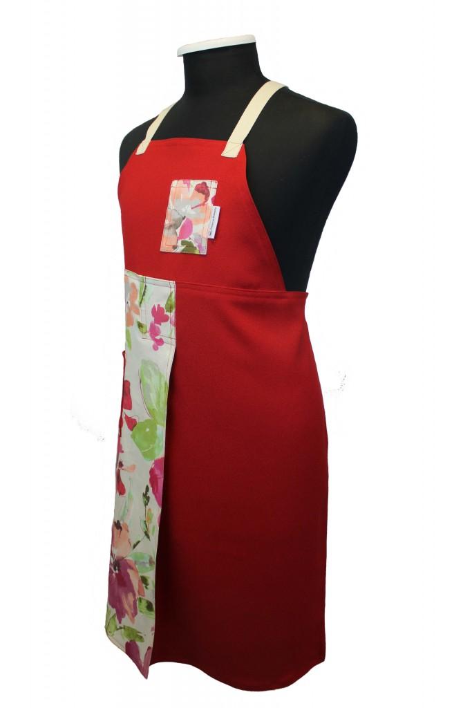 Red floral (2) split-leg apron