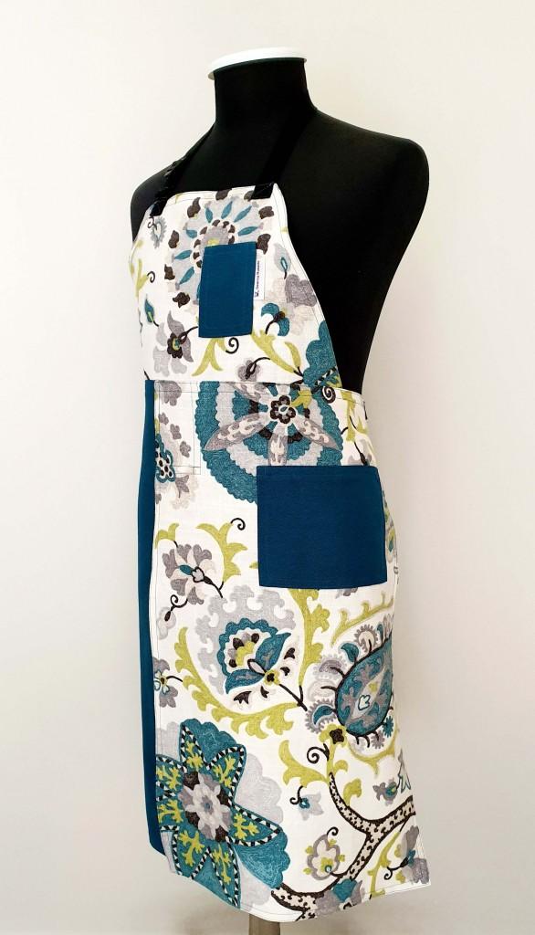 Pottery Split-Leg Apron - Teal Floral