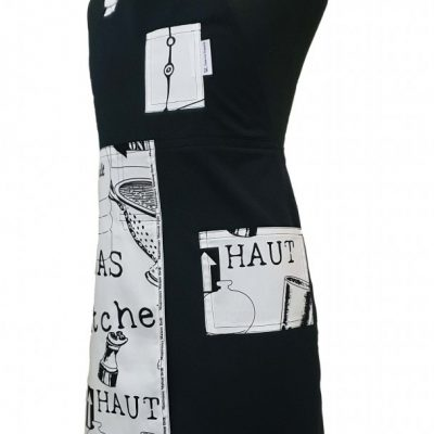 Potter or Chef split-leg apron Black and White