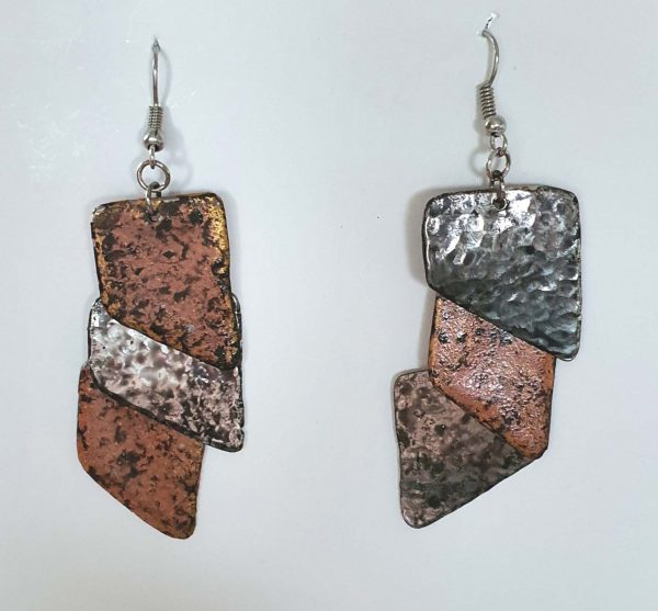 4 x 2 Copper Tiles Earrings