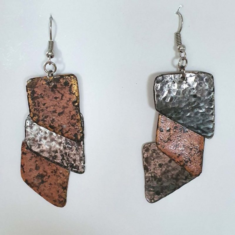 4 x 2 Copper Tiles Earrings