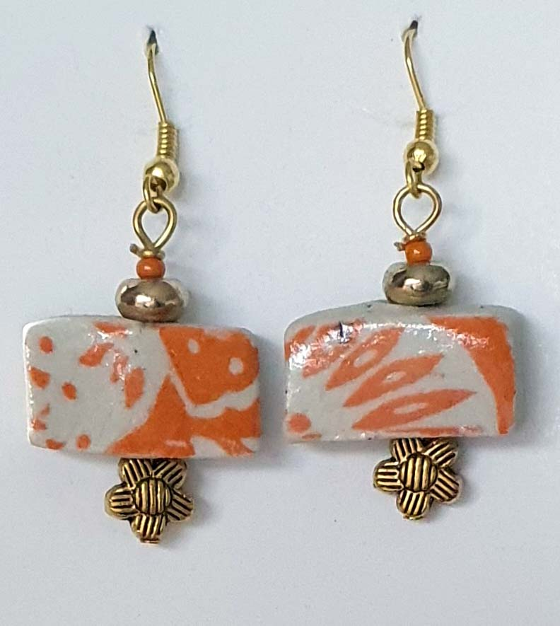 Orange Flower Bed Earrings