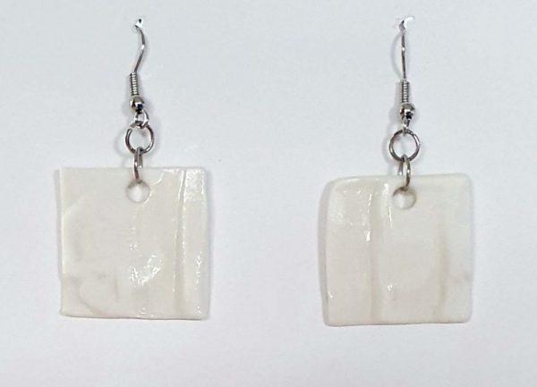 White Porcelain Square Earrings