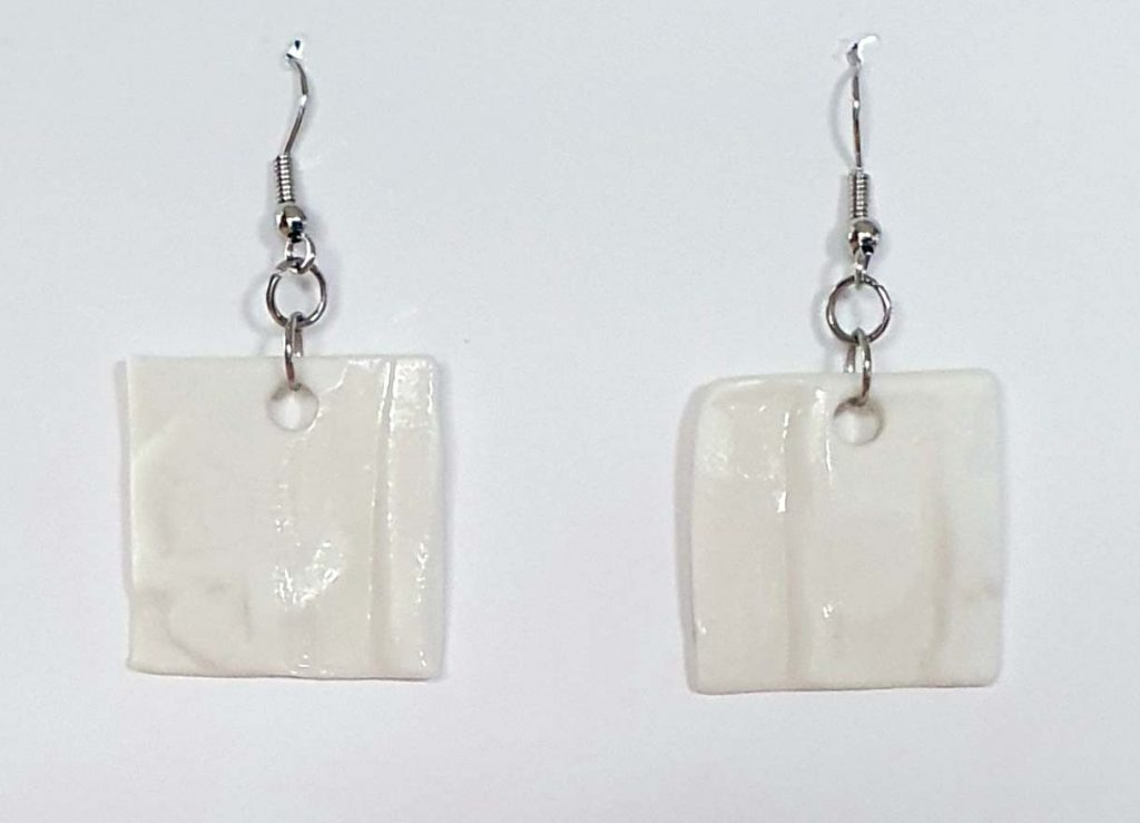 White Porcelain Square Earrings