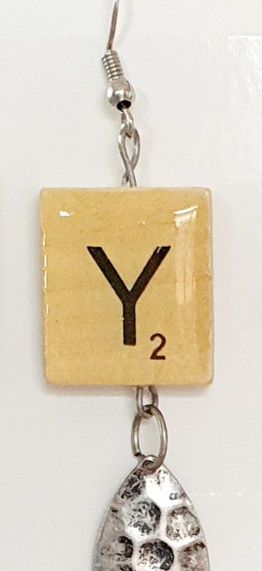 Scrabble earring with pendant - Y