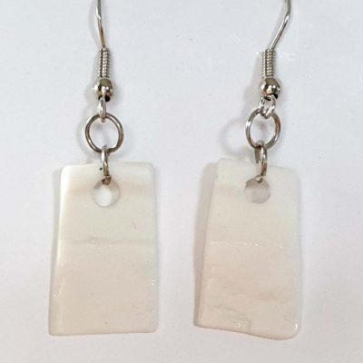 White Porcelain Rectangular Earrings