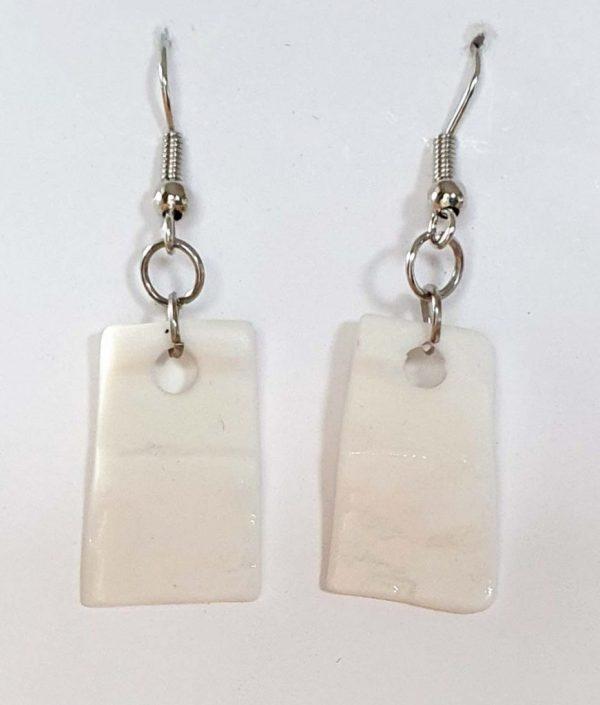 White Porcelain Rectangular Earrings