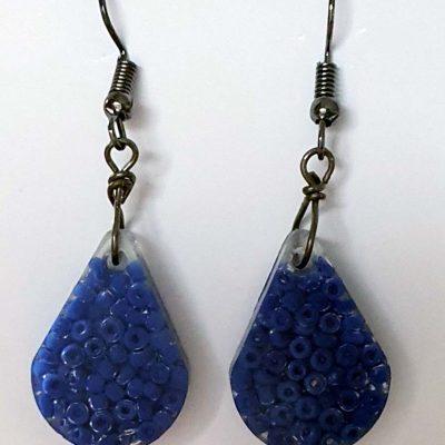 Blue Seed Bead Earrings
