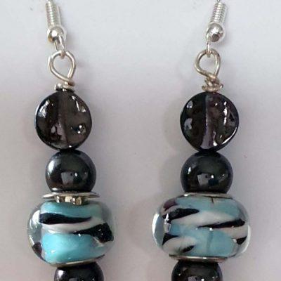 Zebra Blue Earrings