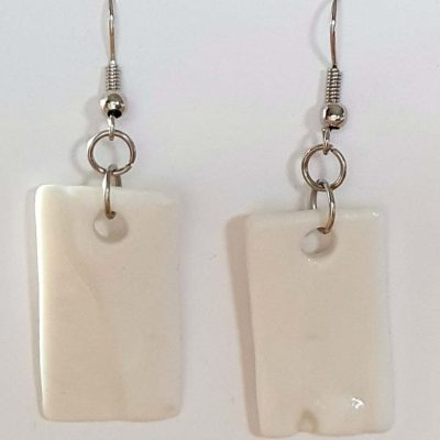 White Porcelain Day or Night Earrings