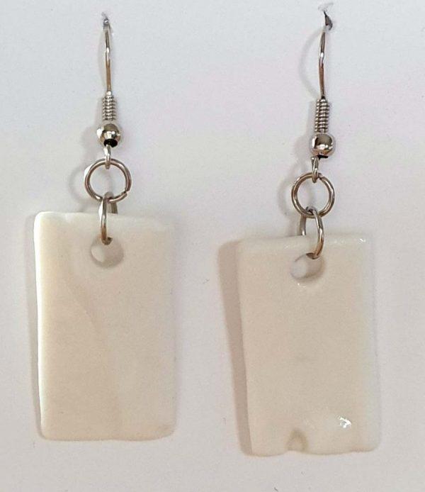 White Porcelain Day or Night Earrings