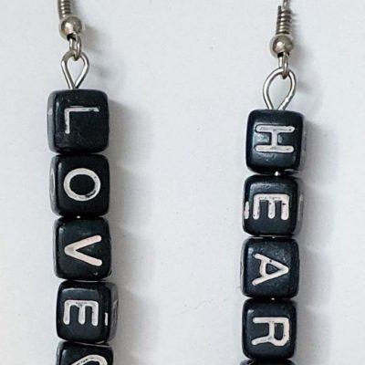 Love Heart Letter Earrings