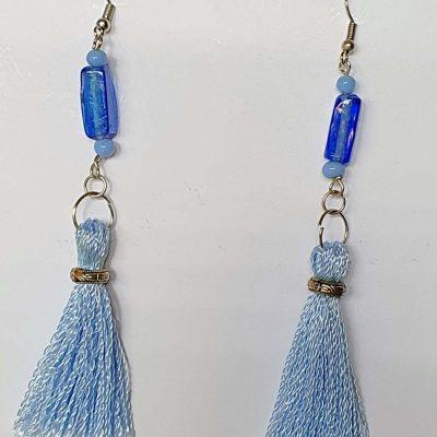Blue Tassels Earrings