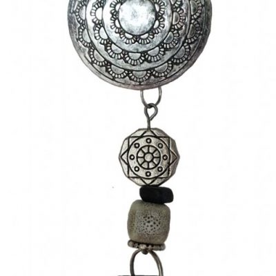 Bag charm - Black and cream 11 cm