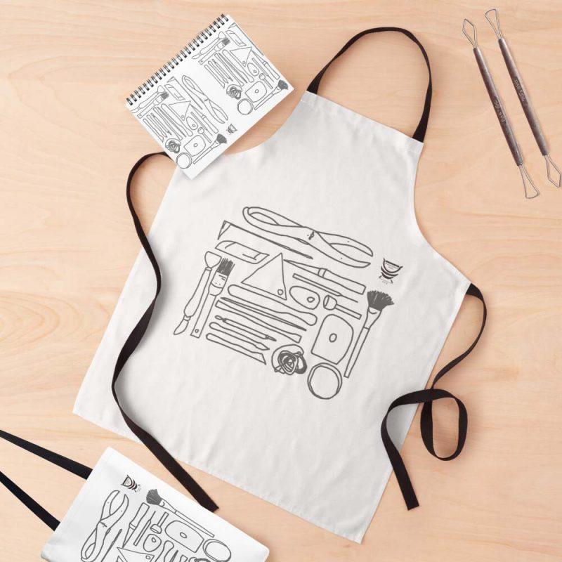 Pottery Design apron - Potters Tools - Deanna Roberts Studio (2)
