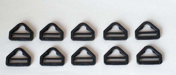 Tri-glide triangular slide clip & strap adjuster plastic buckles (5-pack)