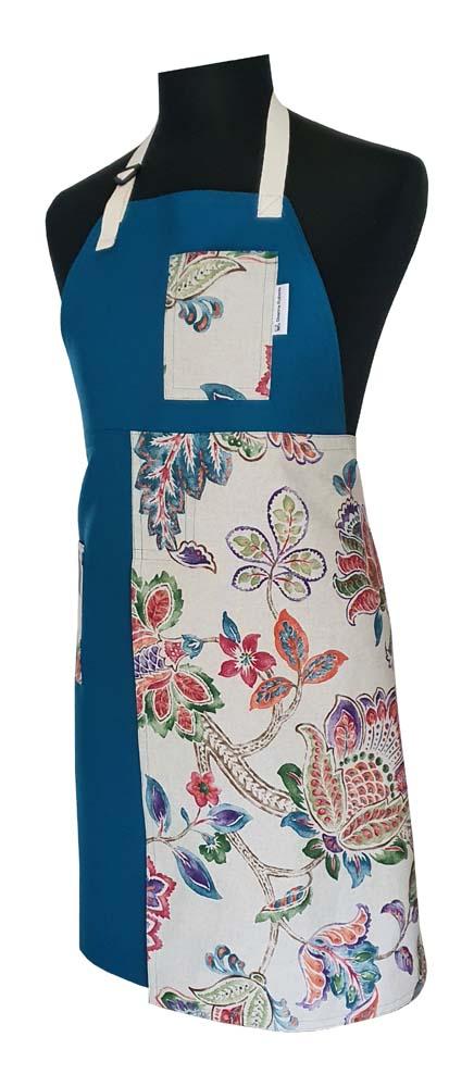Teal & Floral Split-Leg Apron - Deanna Roberts Studio (1)