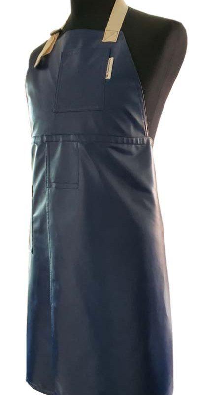 Blue-Pleather-Split-leg-apron-77-x-92-Deanna-Roberts-Studio