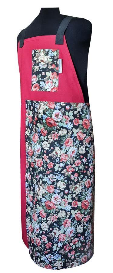 Rose Garden Split-leg apron (78 x 90) Crossover back - Deanna Roberts Studio