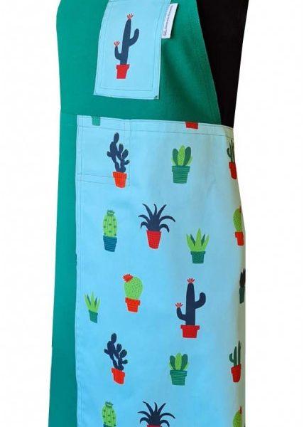 Prickly Green Split-leg apron (77 x 87) with neck strap & waist ties - Deanna Roberts Studio