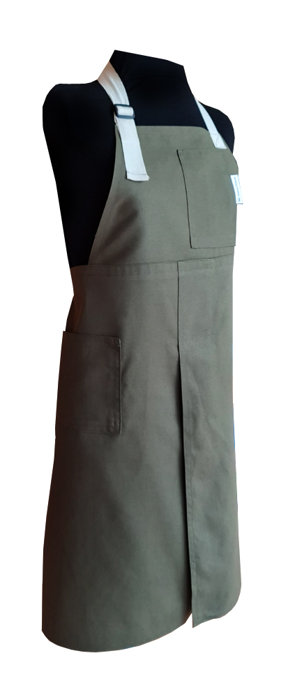 Forest Gum Split-leg apron (79 x 86) with adustable neck strap and waist ties - Deanna Roberts Studio